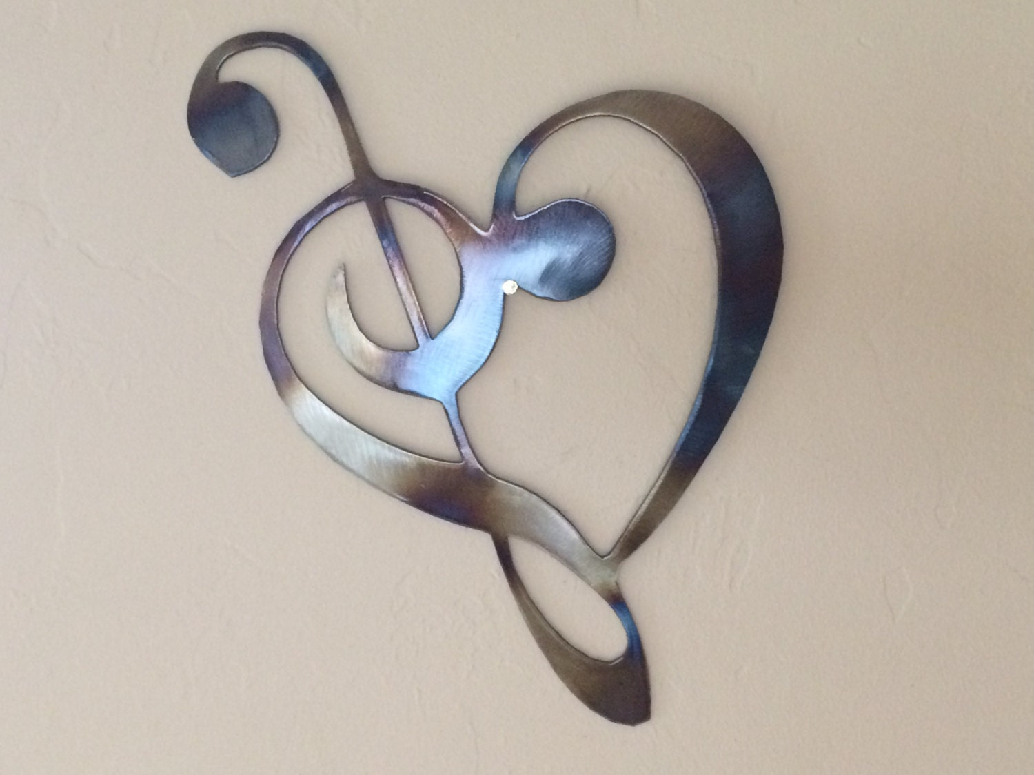 Wall Decorations Music Notes : Heart music notes metal wall art decor