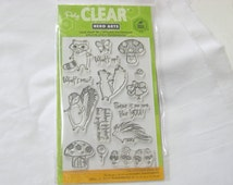 Hero Arts Clear Stamp Set, Woodland Creatures, Raccoon, Skunk, Mushrooms, Butterflies, Sentiments