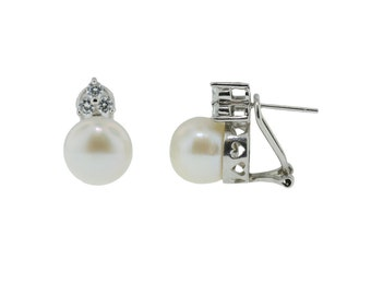 Pearl and Silver Earring with Cubic Zircon