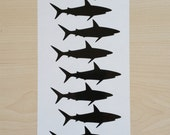 """48 Shark Decals,1"""" Peel and stick, vinyl Shark stickers, envelope sealers, party decals, nautical decal, tumbler decal, cup decal"""