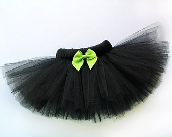 Black Dog Tutu with Lime Green Bow - Elastic Fit - Black Pet Tutu Costume - Halloween Tutu