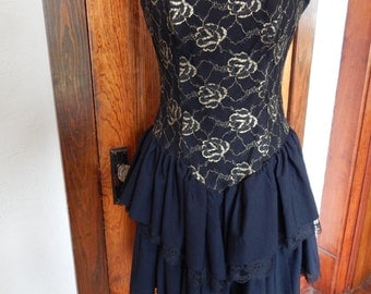 Black and gold 1980's formal dress