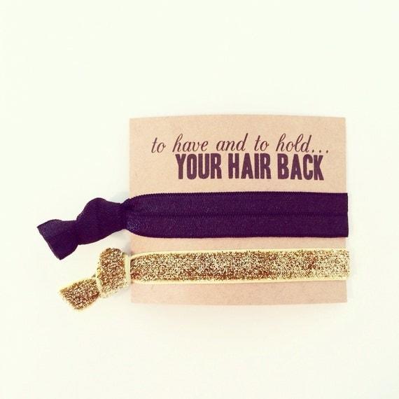 Bachelorette Favor Hair Ties   Black + Gold Glitter Hair Tie Favors, Black + Gold Hair Tie Bridesmaid Gift, Wedding Party Gift Hair Ties