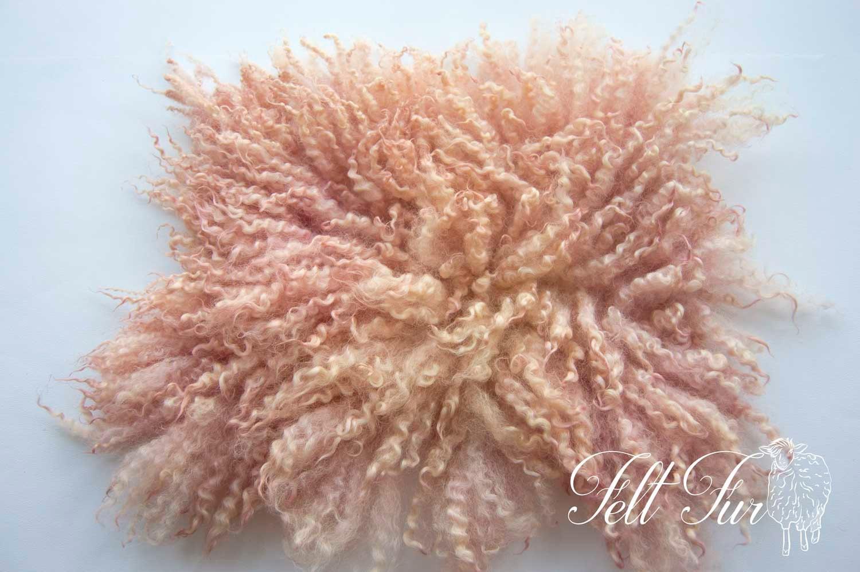 Curly Layer Peach Fur Posing Blanket Mini Flokati