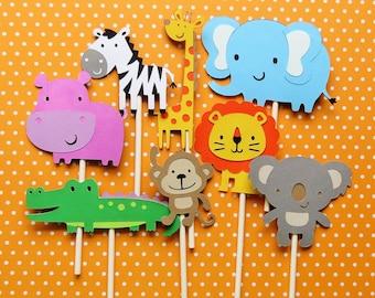 Set of (16) Jungle/Safari/Zoo Cupcake Toppers