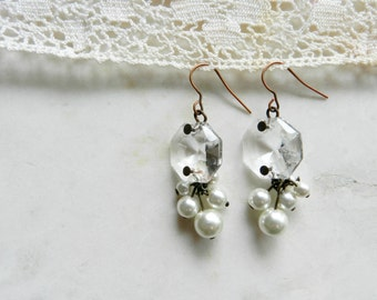 Handmade Vintage Upcycled Crystal Chandelier Earrings With Faux Pearls