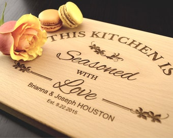 Personalized Cutting Board Kitchen, Custom Chopping Block, Engraved Hostess, Housewarming or Mothers Day Gift, Kitchen Seasoned with Love
