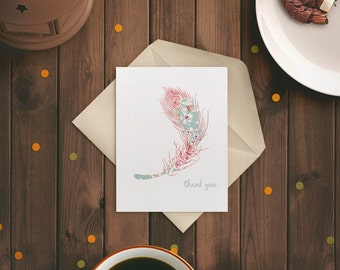 Thank you Card Feather - Relationship Card - Feather Card