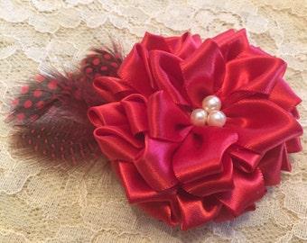 Scarlet and Pearl Petaled Rose Hair Pin