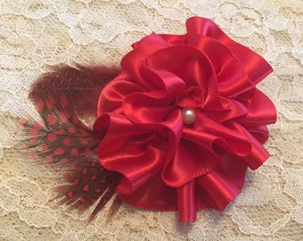 Scarlet and Pearl Ruffled Rose Hair Clip