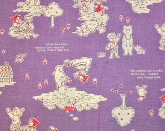 Fabric destash 1 fat quarter Japanese Kokka Trefle fabric nursery rhymes very cute on violet  bear girl and boy