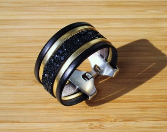 Black sequins and Gold 30mm leather Cuff Bracelet