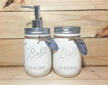 Cream Distressed Mason Jar Toothbrush Holder & Soap Dispenser (16 oz)