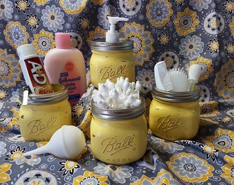Mason Jars: Nursery Decor, hostess gift, christmas gift, bathroom decor, vace, vanity set, babyshower gift, housewarming gift, yellow