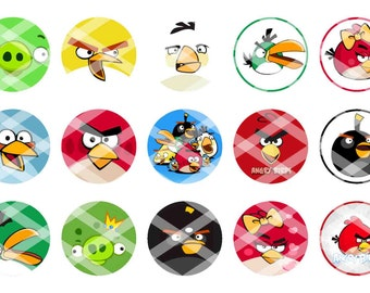 Printed Full Sheet Angry Birds Bottle Cap Images...15 Images...You Choose UNCUT or PRE-CUT