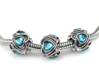 European Spacer Bead With Blue Crystals Fits European Charm Bracelets - Heart Shaped Silver Beads S-BCS1