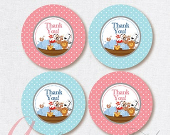 Thank You Favor Tags .Noah's Ark party tags. Printable Noah's Ark tag. Baptism tag.Birthday diy Thank You Tags. Babyshower. INSTANT DOWNLOAD