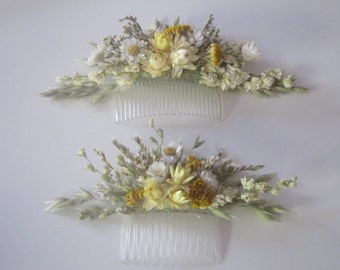 Beautiful Bespoke Floral Comb. Dried Flowers. Made in any colour. Wedding Hair, Bride, Bridesmaid, Flowergirl, Clips, Crown, Pins Accessory
