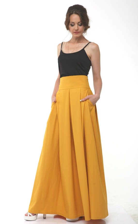 More Colors-Mustard Maxi Skirt.High Waist Women's
