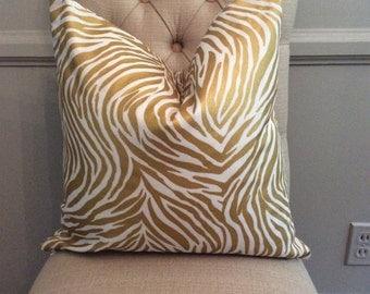 Handmade Decorative Pillow Cover - Zebra - Gold - Metallic - Animal Print