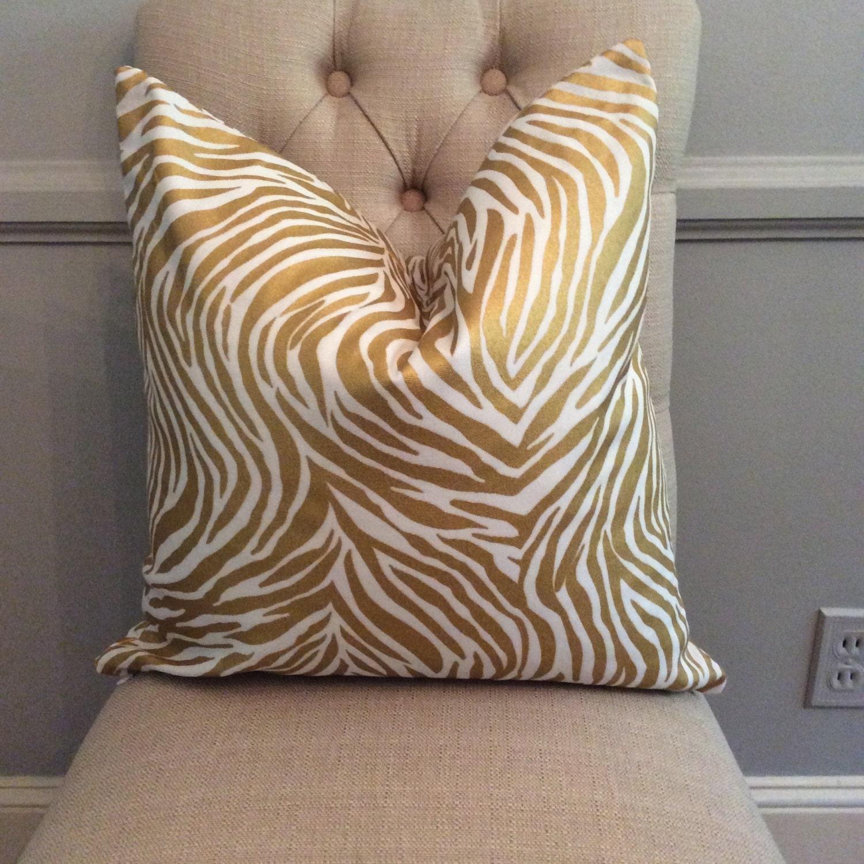 Decorative Zebra Pillows : Handmade Decorative Pillow Cover Zebra Gold Metallic