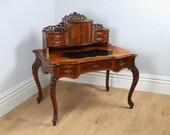 Antique Louis XV Revival French Walnut  Leather Bonheur Du Jour Desk (Circa 1870)