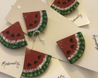 Watermelon Pins (hand-painted wood)