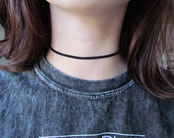 Black, White or Brown Vegan Leather Sueded Tattoo Choker