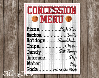 Sports Concession Menu, Basketball Party Decor, Basketball Party Banner, Basketball Sign, Digital File
