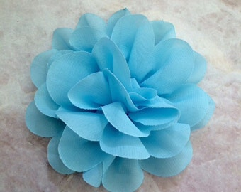 Chiffon flower, large flower, blue flower, lace flower, flower puff, flower supplies, DIY supplies,