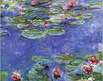 claude monet water lily monet oil painting reproduction purple water lily  for home decor wall art painting or gift