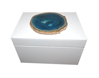 White Agate Decorative Box
