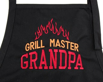 QUALITY APRON: Embroidered Father's Day Grill Master Grandpa or Dad Apron | Personalized Dad Gift | Smoker Grandpa, Dad or Uncle