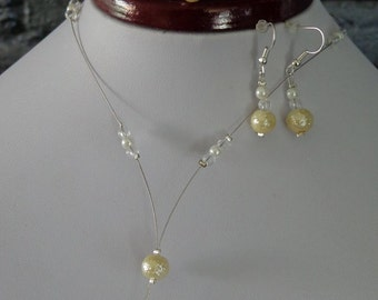 parure necklace bracelet and earrings ear ivory wedding pearls miss end of year ball