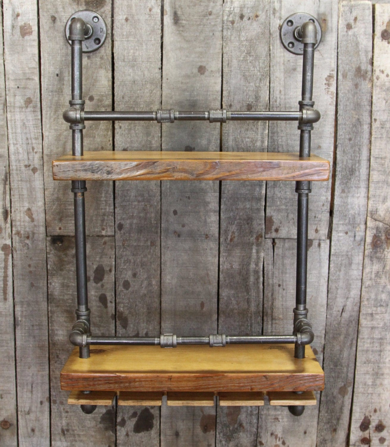 Very Impressive portraiture of Wine Not Reclaimed Wood and Pipe Wine Rack Bar Shelf by iReclaimed with #937338 color and 1310x1500 pixels