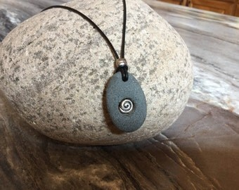Beach Stone Necklace with Black Leather Cord 24 inch