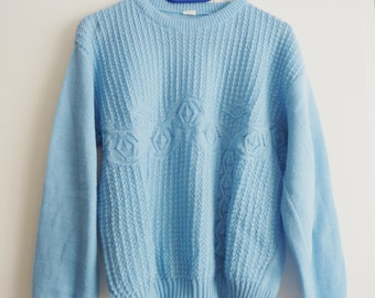 blue waffle knit sweater jumper blue sweater with waffle structure,Blogger Style