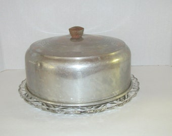 Vintage Glass Cake Plate with Metal Dome Cake Cover / Retro Cake Plate