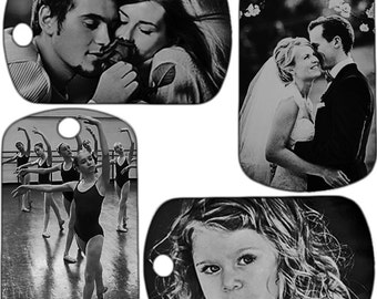 Personalized photo tag, double sided laser engraved, with your pictureand message