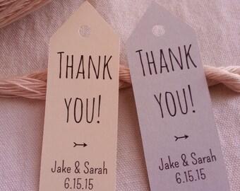 25 Custom Thank You Tags, Custom Wedding Tags, Custom Thank You Wedding Tags
