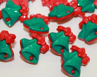 Christmas bells buttons, green red bells, shank buttons