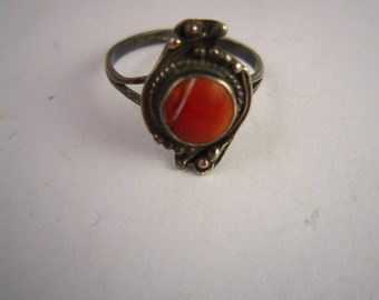 Vintage sterling silver ring red stone made in Israel