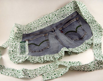 Jean Apron, Denim Apron-Happy St. Patrick's Day!