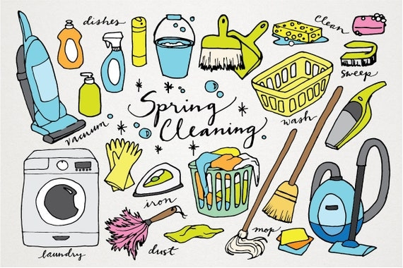 Spring Cleaning Clipart Hand Drawn Clip Art Laundry
