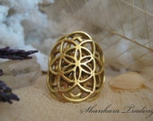 Brass Ring, Sacred Geometry Double Seed Of Life Ring, Yoga Jewellery, Tribal Ring, Ethnic Jewellery, Indian Ring