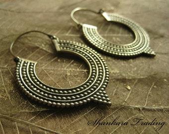 Tribal Earrings, Hoop Earrings, Tribal Jewellery, Brass Earrings, Indian Fusion Jewellery, Ethnic Earrings, Belly Dance Jewelry, Bohemian