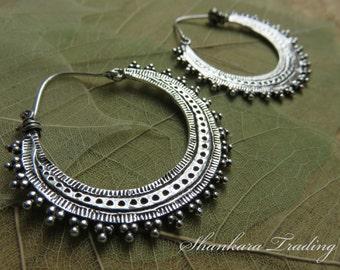 White Brass Tribal Earrings, Gypsy Hoop Earrings, Boho Brass Earrings, Belly Dance Jewelry, Ethnic Earrings, Tribal Gypsy Earrings