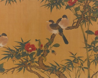 Birds, bamboo, and camelias Home Decor Wall Decor Giclee Art Print Poster A4 A3 A2 Large Print FLAT RATE SHIPPING