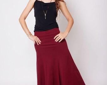 Maroon Maxi Skirt , Fairy Pixie Gypsy Skirt , Long Lycra Skirt , Women's Skirt , Comfortable Skirt