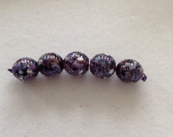 Lampwork bead set, purple, ribbed rounds, set of 5, handmade, glass beads